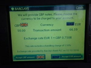 Barclays exchange rate